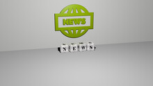 3D Graphical Image Of NEWS Vertically Along With Text Built By Metallic Cubic Letters From The Top Perspective, Excellent For The Concept Presentation And Slideshows. Illustration And Background