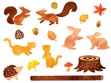 森の小動物と秋の紅葉の水彩風イラストセット