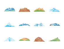 Folded Mountains Icon Set, Fla...