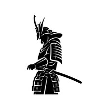Samurai Warrior Logo Design Vector. Silhouette Of Samurai. Template Illustration