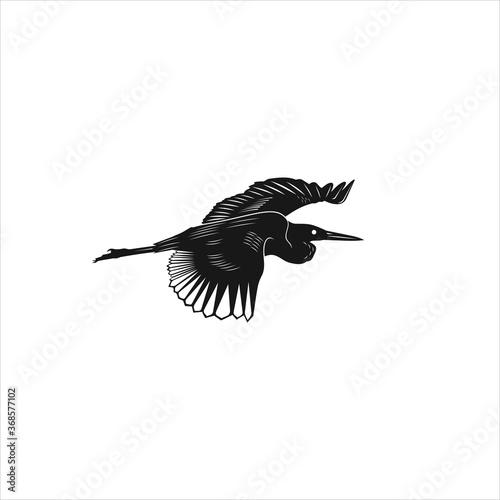 Photo black crane stork heron egret bird silhouette vector logo icon