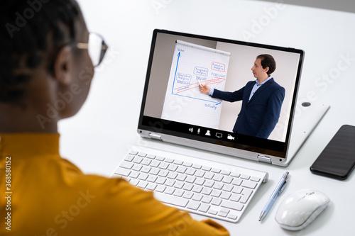 Fototapeta Online Virtual Video Conference Training obraz na płótnie