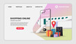 Shopping Online on Mobile Application with plane Concept Digital vector for landing page.3d vector illustration.