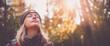Leinwandbild Motiv Young woman hiking and going camping in nature