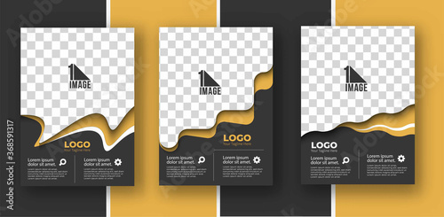 Fototapeta Set of Business flyer with space of image & logo- Brochure magazine cover page & poster template, vector illustration. obraz