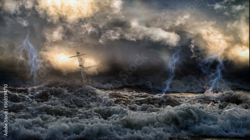 Valokuvatapetti Silhouette of sailing old ship in stormy sea with lightning bolts and amazing waves and dramatic sky