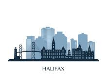 Halifax Skyline, Monochrome Silhouette. Vector Illustration.