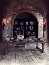 Room With Books, Scrolls And Other Papers In A Medieval Scriptorium With Torches. 3D Render.