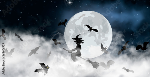 The witch sitting on the broom flyes through clouds up above the sky with Moon and stars shining on it Fototapet