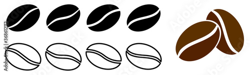 Set of simple coffee bean icons - slight variations, filled and outline version Canvas-taulu