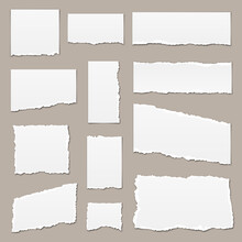 White Torn Paper. Torn Paper Scraps. Paper Pieces Isolated. Ripped Paper Strips