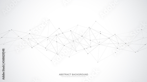 Abstract polygonal background with connecting dots and lines. Global network connection, digital technology and communication concept. - 368628548