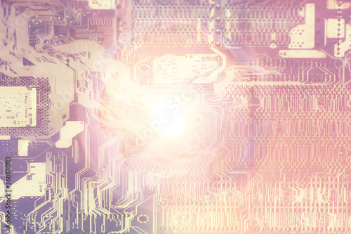 Fotografie, Obraz abstract microelectronics background / modern technology concept industry backgr