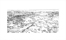 Building View With Landmark Of Allentown Is A City In Eastern Pennsylvania. Hand Drawn Sketch Illustration In Vector.