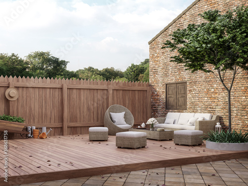 Loft style outdoor living area 3d render,There are wooded and clay tiles floor,old brick wall and wooden fence Decorated with rattan furniture sets Looking out to see the natural scenery