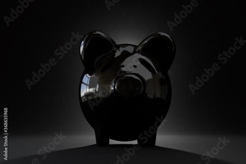 Fototapeta Piggybank savings concept: Low key image of a black piggybank on black background. Lighting from behind. obraz na płótnie