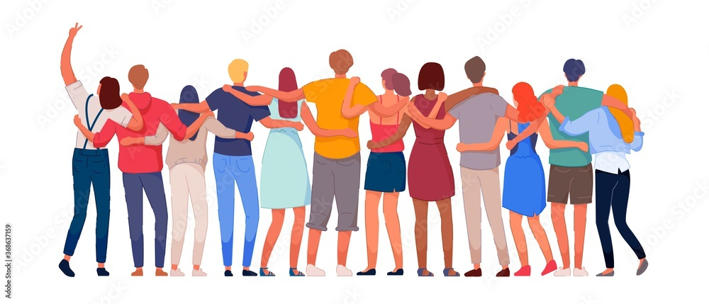 Fototapeta Happy people. Diverse multi-ethnic people character group hugging standing together back view. National cohesion, solidarity and unity illustration. International friendship communication vector