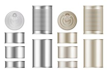 Tin Can Set. Isolated Blank Ca...