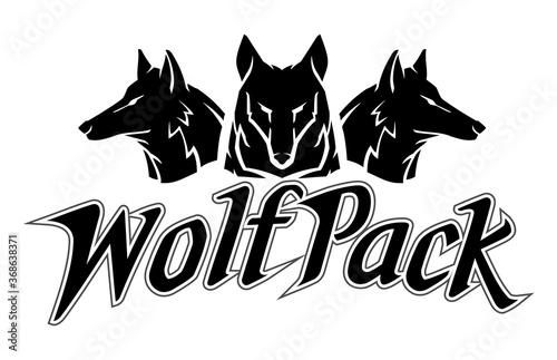Valokuva Wolfpack Design Silhouette Emblem Symbol