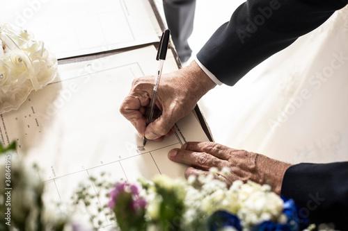 Fotomural firma matrimonio
