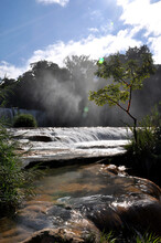 Motiepa Waterfall At Palenque In Mexico, Natural Background