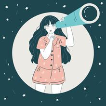 Vector Illustration Of A Girl ...