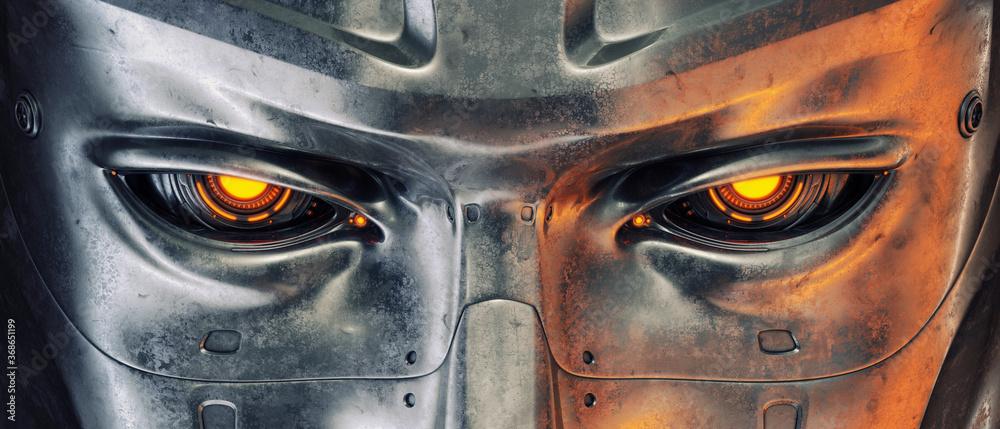 Fototapeta Steel robotic eyes, 100% sci-fi vision implants, 3d rendering