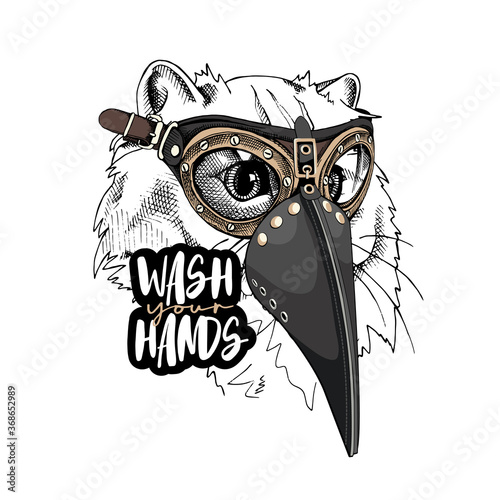 Obraz Cat in a Medieval Plague Doctor mask and in a protective glasses. Steampunk Character. Wash your hands - lettering quote. T-shirt composition, hand drawn style print. Vector illustration. - fototapety do salonu