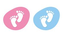 Baby Footprint Icons. Set Of C...