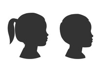 Silhouettes Of Child Face. Little Girl And Boy. Outlines Baby In Profile. Vector Illustration