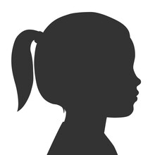 Silhouette Of Child Face. Little Girl. Outlines Baby In Profile. Vector Illustration