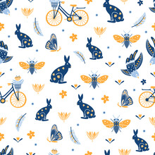 Seamless Pattern With Bicycle And Rabbits, Flowers, Butterflies, Bees On White Background