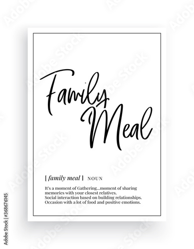Family meal definition, Minimalist Wording Design, Wall Decor, Wall Decals Vecto Canvas Print
