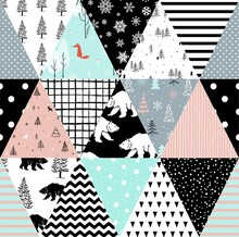 Seamless Background Pattern Imitation Of A Patchwork Pattern . Includes: Bear, Forest, Trees, Stripes.Vector Illustration.