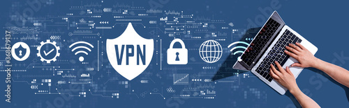 Obraz na plátne VPN concept with woman using a laptop computer