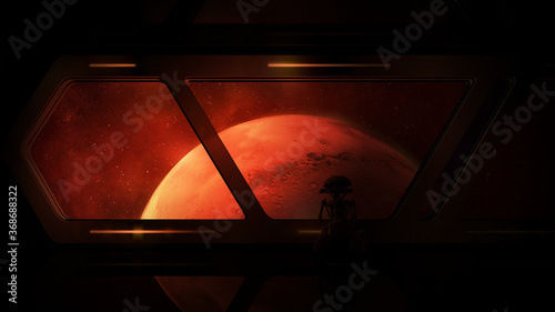 View of Mars from a spaceship with a droid on board. Canvas Print