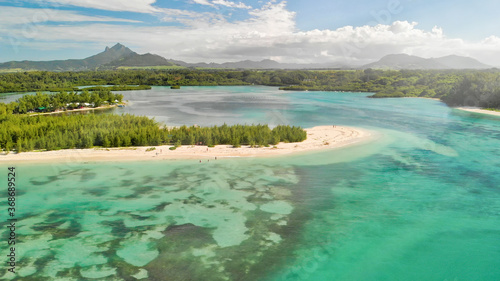 Obraz Mauritius Island. Aerial view of beautiful landscape from drone - fototapety do salonu