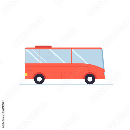 Tablou Canvas Red bus illustration. Flat bus vector