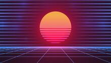 Synthwave Sun. 80s Grid Background. Retro Future Advertisement Banner Template. Retrowave Neon Backdrop. Dark Night Sky. Bright Pink Sun. Blue Neon Horizontal Lines. Stock Vector Illustration