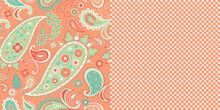 Pattern_Set_Seamless_Floral_Paisley_Pattern_Polka_Dot_Hearts_Coral_Background