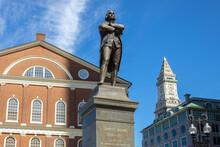 Faneuil Hall With Samuel Adams Statue In Boston Massachusetts