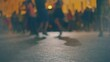 Defocused Street salsa dance in the night, many young couples dance social latino dances in slow motion