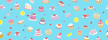 Seamless Pattern. Confectionery Products On A Blue Background. Vector Hand Graphics