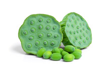 Close Up Of Lotus Seeds Isolated On White Background With Clipping Path.