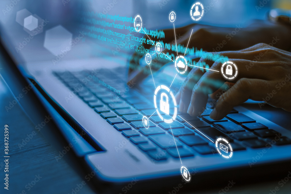 Fototapeta Business, technology, internet and networking concept. Young businesswoman working on his laptop in the office, select the icon security on the virtual display.