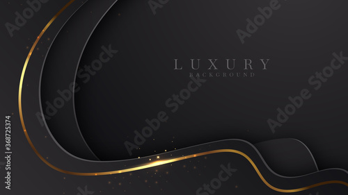 Fotografía Modern luxury background vector overlap layer on dark and shadow black space with abstract style for design