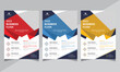 Professional Corporate Business Flyer Design Templates, red, blue, yellow color, shape design, a4 size, Vector illustration