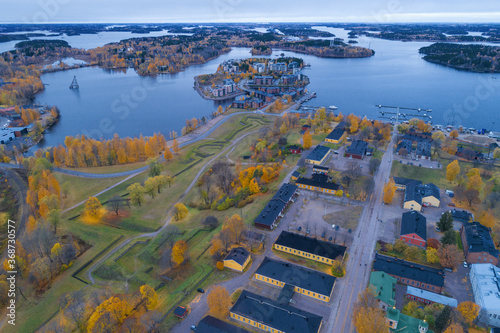 Valokuvatapetti View of Saimaa Lake  from the side of the ancient fortress of the city of Lappeenranta on a October cloudy day (aerial photography)