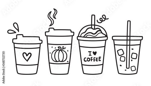 Obraz Cute vector illustration of hot and iced coffee to go cup doodle. - fototapety do salonu