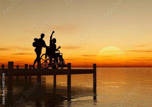 Cuadros en Lienzo Silueta de joven pareja con handicap físico y silla de ruedas en un embarcadero
